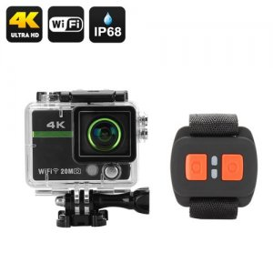 "Ultra HD 4K Action Camera ""Clarion"" - 20MP, 170 Degree Lens, DVR Loop Recording, Wrist Remote Control, Wi-Fi, iOS + Android App"