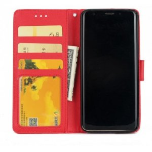 Cover Case for Samsung S9 Plus Flip Wallet PU Leather Magnetic Fundas Silicone - RED