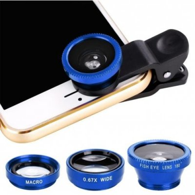 Minismile 3-in-1 Fisheye and Wide Angle and Macro Phone Camera Lens Kit for iPhone X - 8 Plus - 8 - 7 Plus - 7 - BLUE