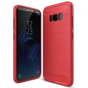 ASLING Carbon Fiber TPU Back Protective Case for Samsung Galaxy S8 - RED
