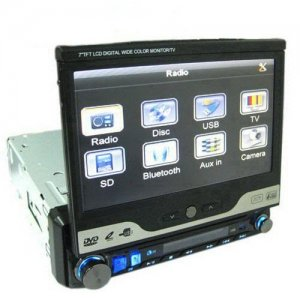 7 Inch Touch Screen One DIN In-dash Motorized DVD Player - TV + FM