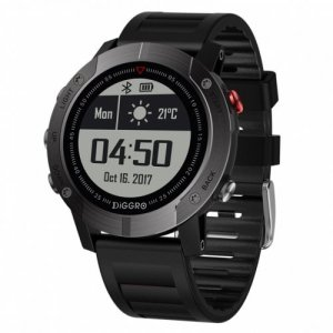 Diggro DI08 GPS Smart Watch Outdoor Fitness Tracker 30meter IP68 Waterproof Backlight Multiple Sport Modes Heart Rate Monitor - BLACK