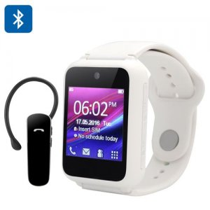 Ken Xin Da S9 Smart Phone Watch - Quad Band, 1.54-Inch Touch Screen, Camera, Bluetooth 2.0 Headset (White)