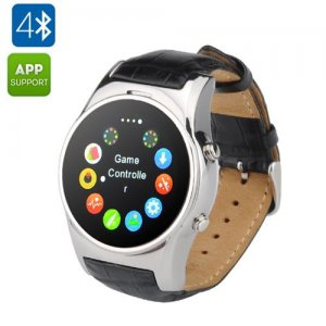 GSM Smart Watch Phone - Bluetooth 4.0, 1.3 Inch Display, Pedometer, Remote Camera, Heart Rate Monitor, Sleep Monitor (Silver)