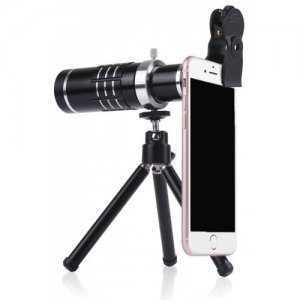 Telephoto 18 Times Telescope + 0.45 HD Wide-angle Macro Cell Phone Camera - BLACK