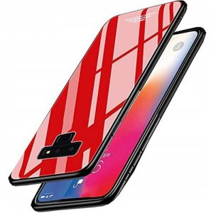 Cover Case for Samsung Galaxy Note 9 Soft TPU Bumper Tempered Glass - RED