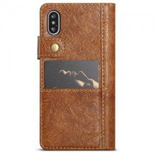 CaseMe Multifunctional Business Wallet PU Leather Phone Case for iPhone XS Max - BROWN